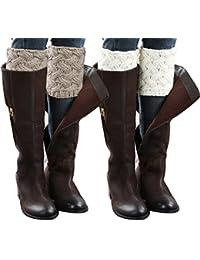 2 Pairs Women Winter Crochet Knitted Boot Cuffs Toppers Short Leg Warmer