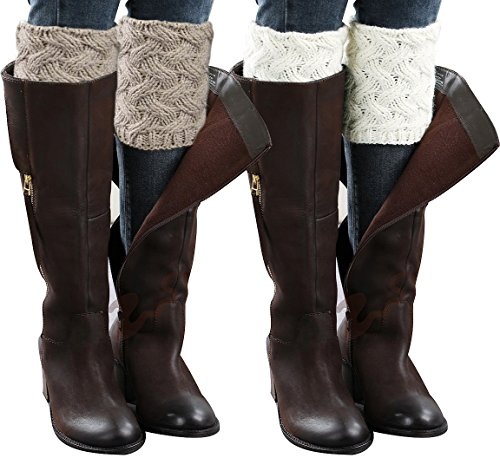 Loritta 2 Pairs Women Winter Crochet Knitted Boot Cuffs Toppers Short Leg Warmer -