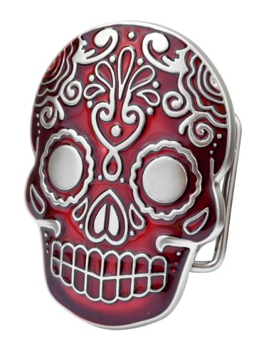 Aztec Skull Red Belt Buckle