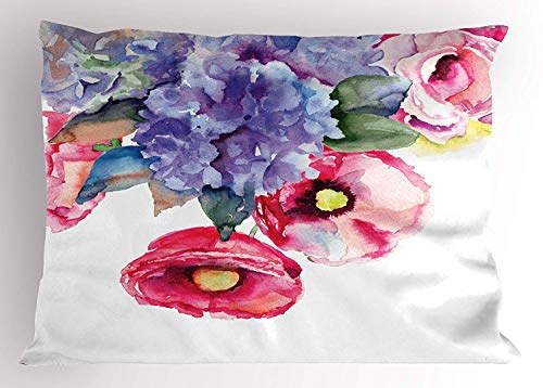 Ustcyla Watercolor Pillow Sham, Rose Lavender Flower Summer Petals Paintbrush Eco Botany Branches Artsy Paint, Decorative Standard Queen Size Printed Pillowcase, 30 X 20 inches, Multicolor for $<!--$6.00-->