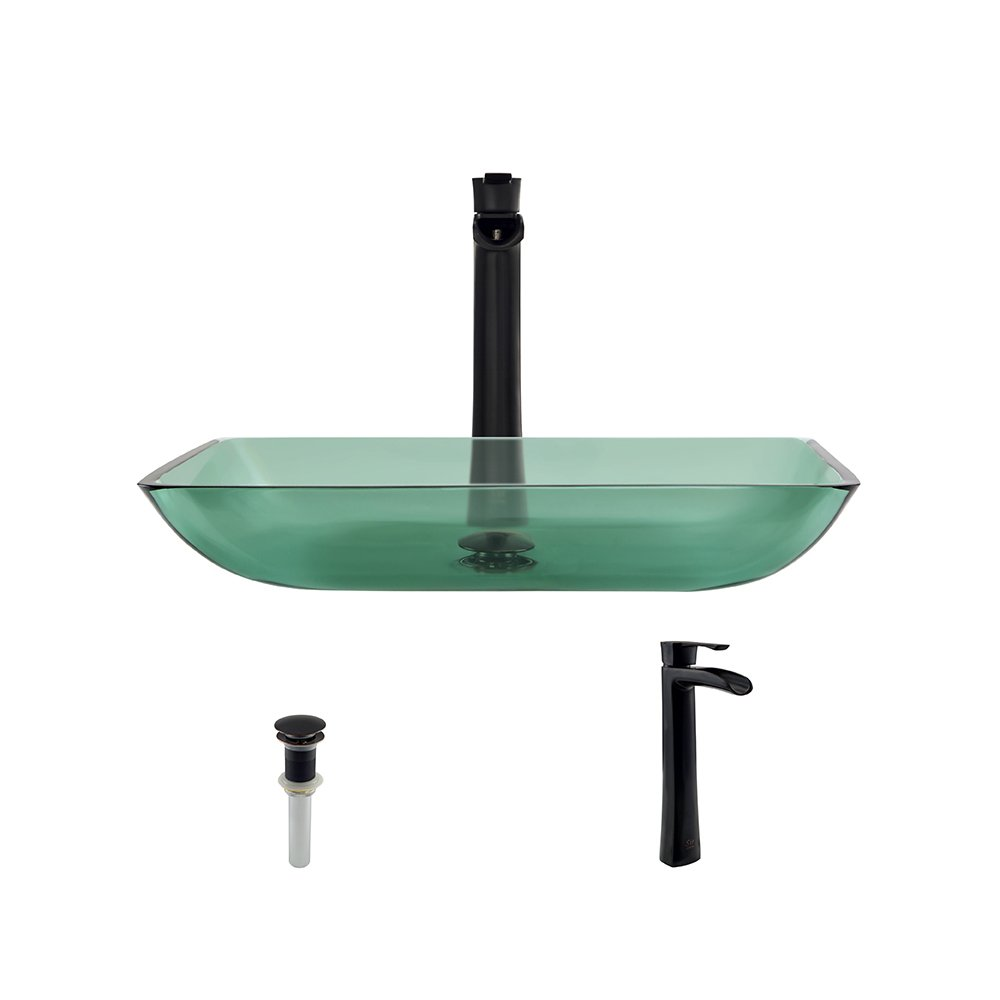 640 Emerald Antique Bronze Bathroom 731 Vessel Faucet Ensemble Bundle – 3 Items Vessel Sink, Vessel Faucet and Pop-Up Drain