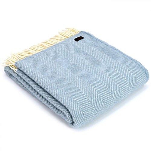 Tweedmill Textiles 100% Pure Wool Blanket Fishbone Design in Duck Egg Blue, Made in UK