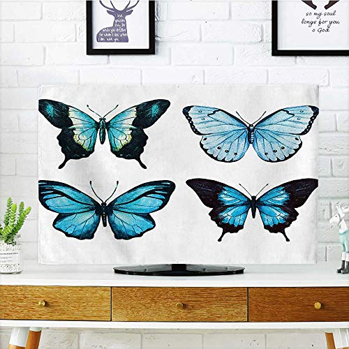 Auraisehome Cover for Wall Mount tv Butterfly Collection with Ornate Wings Life Watercolor Print Home Blue and Black Cover Mount tv W25 x H45 INCH/TV 47