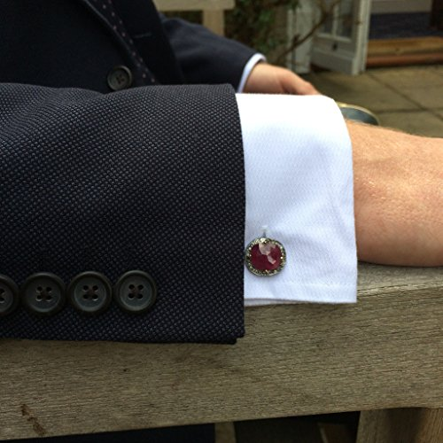 Ruby Cufflink Oxidised Silver Champagne Diamonds