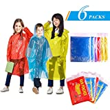 GINMIC Kids Ponchos - 6 Pack Rain Ponchos for Kids, Assorted Colors, Extra Thick 0.03mm, Disposable Emergency Rain Ponchos for Family Travel, Camping, Hiking, Fishing