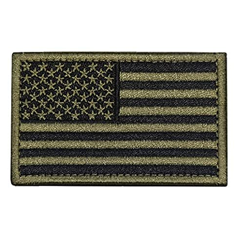 - 51mLUzIE3ZL - Tactical Morale Patch USA Flag Embroidered American Flag Patch Hook&Loop Fastener Backing Emblem (Black+Army Green)