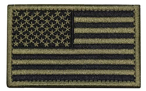 Tactical Morale Patch USA Flag Embroidered American Flag Patch Hook&Loop Fastener Backing Emblem (Black+Army ()
