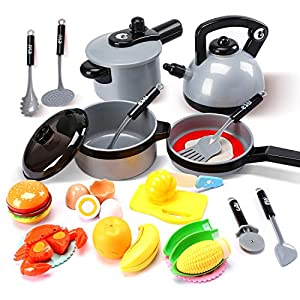 Cute Stone Kids Kitchen Pretend Play Toys,Play Cooking Set, Cookware Pots and Pans Playset, Peeling and Cutting Play…