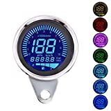 Digital Speedometer for Motorbike, TechCode LED Digital LCD Odometer 12V Universal Motorcycle LED LCD Tachometer Speedometer Multifunctional Modification Speedometer Instrumentation Aluminum Alloy Set