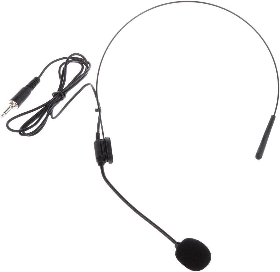 SunniMix Sistema Inalámbrico De Diadema Electret Micrófono Negro Tipo Vertical Tapón