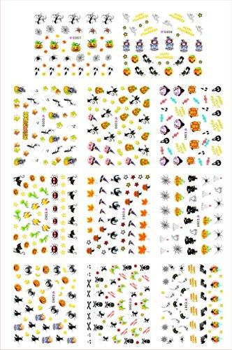 Elevin(TM) New 2016 Halloween Pumpkin Skull Spider Big Sheet Water Transfer 3D Nail Art Sticker Decals Manicure Watermark Tattoos Nail Art Tips (D) (New Halloween Nail Art)