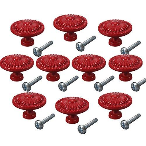 (CSKB Red 10PCS Retro Simple Style Round Door Knob Zinc Alloy Shower Bath Door Handle Pull Knobs for Drawer,Cabinet,Chest, Bin, Dresser, Bathroom ,Cupboard, Etc with Screws ...)