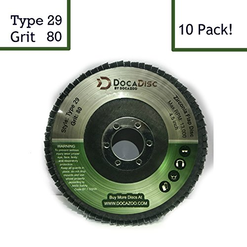 4.5 inch Flap Disc (10 Pack) - 80 Grit Type 29 Professional Grade Zirconia - Abrasive Grinding Wheel, Flap Wheel, and Sanding Discs by DocaDisc