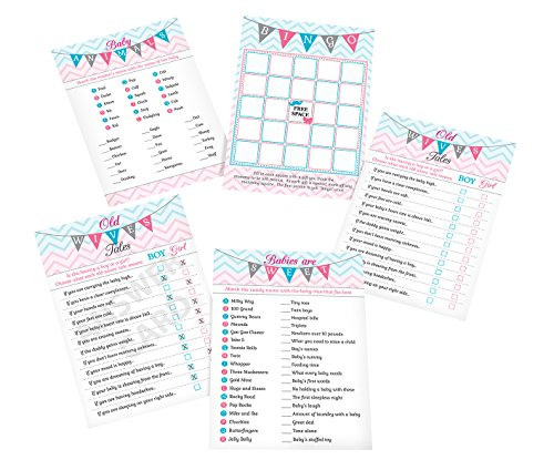 Lillian Rose Baby Gender Reveal Shower Game Cards, Pink/Blue/White, 5