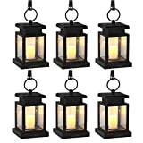 LVJING Solar Lights Outdoor,Hanging Solar Lantern Set Waterproof for Patio Landscape Yard, Warm White LED Flameless Candles Flickering with Auto Sensor On Off - Christmas Decoratio
