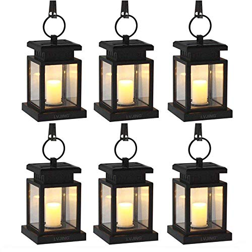 LVJING Solar Lights Outdoor,Hanging Solar Lantern Set Waterproof for Patio Landscape Yard, Warm White LED Flameless Candles Flickering with Auto Sensor On Off - Valentines Day Decorations (6 Pack)