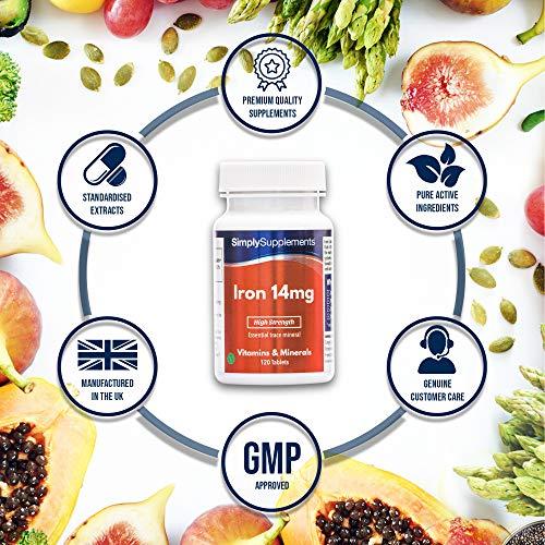Hierro 14 mg - 120 comprimidos - 4 meses de suministro - SimplySupplements