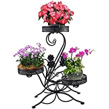 """AISHN 3-Tiered Scroll Classic Plant Stand Decorative Metal Garden Patio Standing Plant Flower Pot Rack Display Shelf Holds 3-Flower Pot with Modern """"S"""" Design (Black)"""