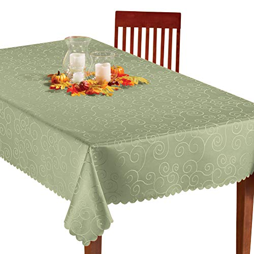 Collections Etc Fancy Scroll Scalloped Edge Festive Tablecloth, Sage Green, 60