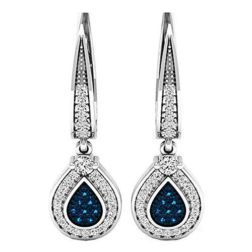 Drop 1/2 Carat Diamond Earrings (0.55 Carat (ctw) 10K White Gold Round Blue & White Diamond Ladies Drop Earrings 1/2 CT)