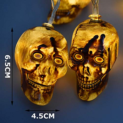 AIRERA Halloween Decorations, 3 Meters 20 LED String Lights, Waterproofed Spooky Vintage 3D Skull Lantern, AA Battery Powered Lamps for Indoor Outdoor for Halloween Party Decor(White Cold Light