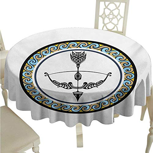 Dustproof Square Tablecloth Zodiac Sagittarius Victorian Inspired Bow and Arrow Design with Colorful Curves and Swirls and Durable D70 Suitable for picnics,queuing,Family