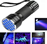 NIANPU UV Ultra Violet 21 LED Flashlight Brightest UV Pee Finder Tool Detector Scorpion Pets Urine and Stains Detector with Mini Blacklight Aluminum Torch Light Lamp