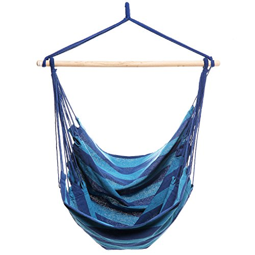 Hanging Hammock Chair Porch Swing Chair for Indoor or Outdoor Spaces 265lbs Weight Capacity Blue (Outdoor Hammock Chair)