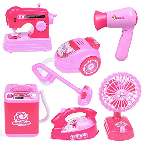 Assorted Household Appliance Toys for Girls, Washing Machine, Vacuum Cleaner, Hair Dryer, Play Kitchen Accessories for Toddlers and Kids