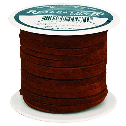"Realeather SOF-Suede Lace, 1/8"" x25-Yard Spool, Medium Brown"