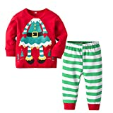 Fheaven (TM) Clearance! Toddler Baby Girls Boy Christmas Outfit Clothes Cartoon Tops Striped Pants Sets (3-4 Years, RED)