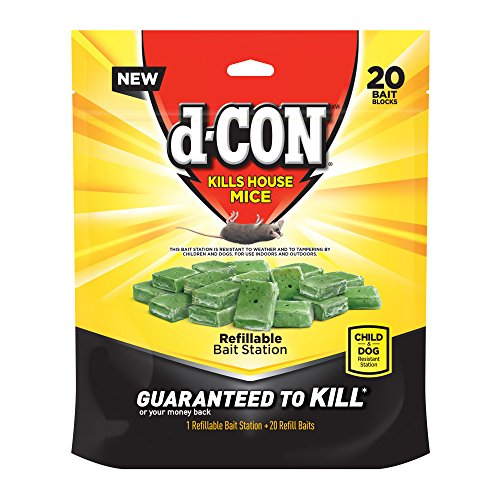 D-Con Corner Fit Mouse Poison Bait Station with 1 Trap and 20 Bait Refills