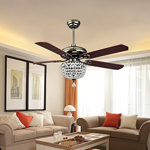 Akronfire Crystal Ceiling Fan Light for Dining Room and Living Room Remote Control The Modern Luxury Fan with LED Fan Lamp (Brown) (42 Inch) by Akron Fire (Image #2)