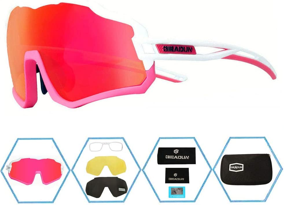 GIEADUN Sports Sunglasses Protection Cycling Glasses with 3 Interchangeable Lenses Polarized UV400 for Cycling, Baseball,Fishing, Ski Running,Golf