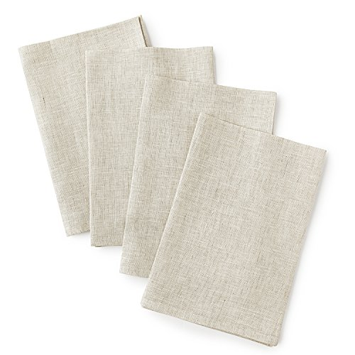 Solino Home Linen Dinner Napkins - 20 x 20 Inch White Ash, 4 Pack Linen Napkins, Bella - 100% European Flax - Soft & Handcrafted with Mitered Corners by Solino Home