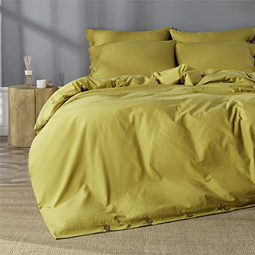 JELLYMONI 100% Washed Cotton Duvet Cover Set Queen Size, Luxury Soft Bedding Set with Button Closure. Solid Color Pattern Duvet Cover(No Comforter) (Ginger, Queen, 3Pcs)