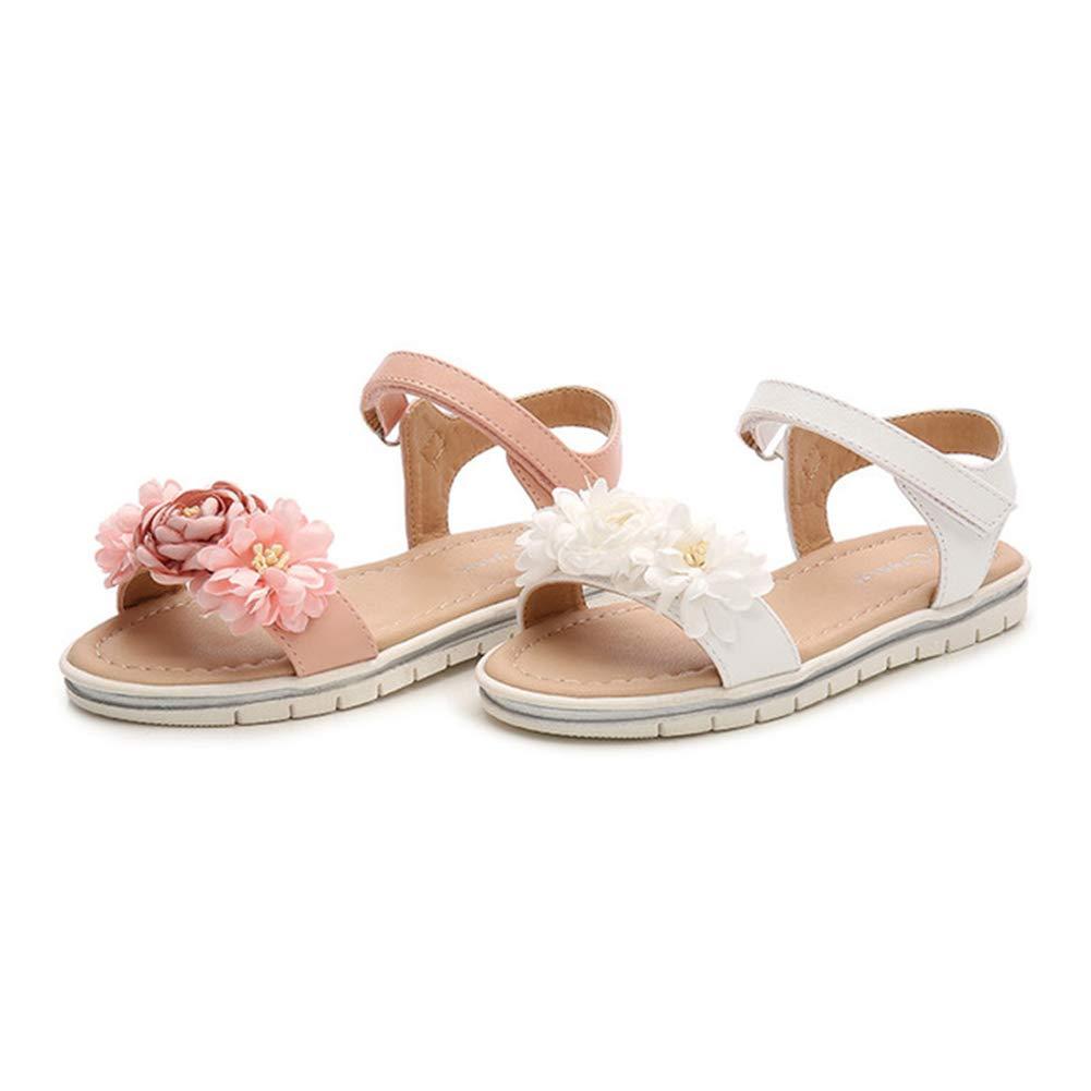 Mobnau Cute Leather Flowers Falt Sandals for Girls Sandles