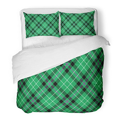 SanChic Duvet Cover Set Green Ireland Hibernian Fc Tartan Diagonal Pattern Abstract Black Decorative Bedding Set with 2 Pillow Shams Full/Queen (Celtic Fc Bedding)