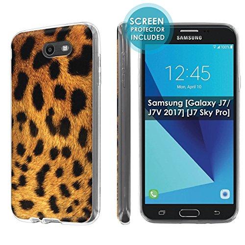 [Nakedshield] Slim Flexi Case For Samsung [Galaxy Halo] [2017] Galaxy J7 [Galaxy Prime/Perx/Sky Pro] [Clear] Total Armor Rubber Gel Phone Case [Screen Protector]- [Leopard] Print Design