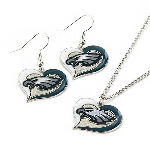 NFL Philadelphia Eagles Swirl Heart Earrings & Pendant Set