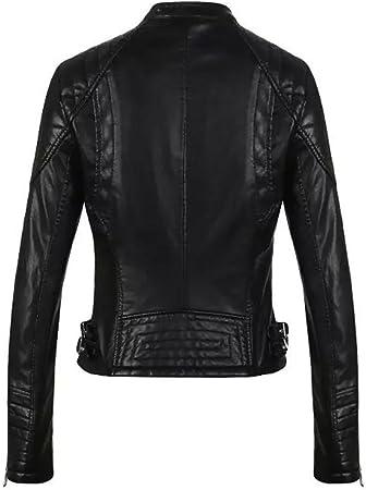 Baymate Retro Chaqueta De PU Cuero para Mujer Slim Fit Cazadoras con Cremallera Casual Abrigos Jacket