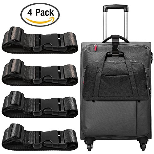 4 Pack Add a Bag Luggage Strap, Miaostar Adjustable Travel Suitcase Belt...