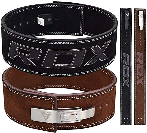 RDX Powerlifting Belt for Weight Lifting – Approved by IPL and USPA – Lever Buckle Gym Training Leather Belt 10mm Thick 4 Lumbar Back Support – Great for Strongman, Bodybuilding, Deadlifts Squat