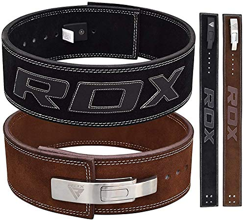RDX Powerlifting Belt for Weight Lifting Gym Training – Lever Buckle Leather Belt 10mm Thick 4 Lumbar Back Support – Great for Strongman Functional Strength, Bodybuilding, Deadlifts Workout Squats