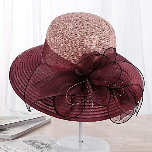 URNGLB Large Wide Brim Organza Flower Sun Ladies Kentucky Derby Wedding Party Dress Floppy Summer Hats for Women 6