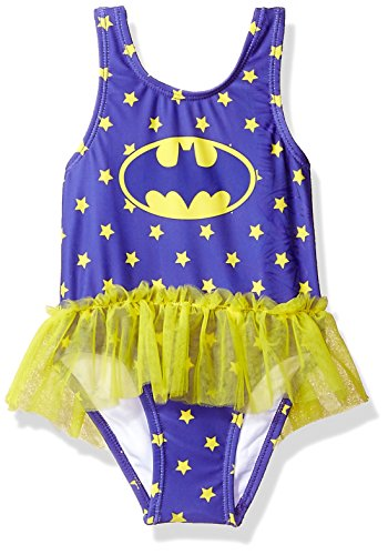 Warner Bros. Baby Girls Batgirl Tutu Swimsuit, Eggplant, 24M