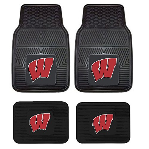 University of Wisconsin Madison Badgers UW College Sports Team Logo NCAA Collegiate Car Truck SUV Universal-fit Front & Rear Seat Heavy Duty Vinyl Floor Mats - 4PC
