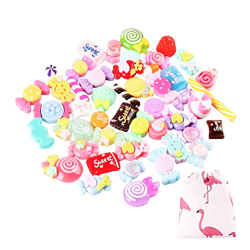50 Pieces Slime Charms Mixed with Resin Sweet and Candy Slime Making Supplies for DIY Slime Art Crafts,Scrapbook and Decoration (50 Pieces Candy) -