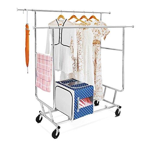 Double Rail Garment Rack with Adjustable Extendable Rails, C