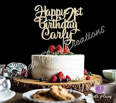 550gsm Custom Personalised Glitter Cake Topper Birthday Decoration Name Word